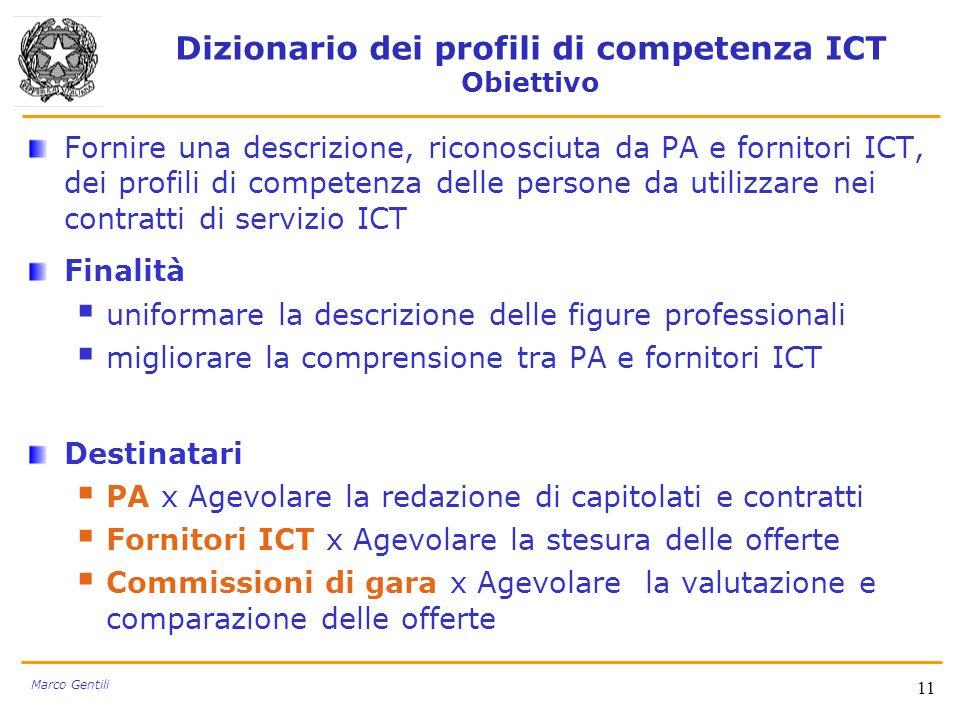 Dizionario dei profili di competenza ICT Obiettivo Fornire una descrizione, riconosciuta da PA e fornitori ICT, dei profili di competenza delle person