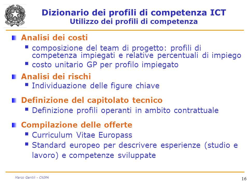 16 Marco Gentili - CNIPA Dizionario dei profili di competenza ICT Utilizzo dei profili di competenza Analisi dei costi composizione del team di proget