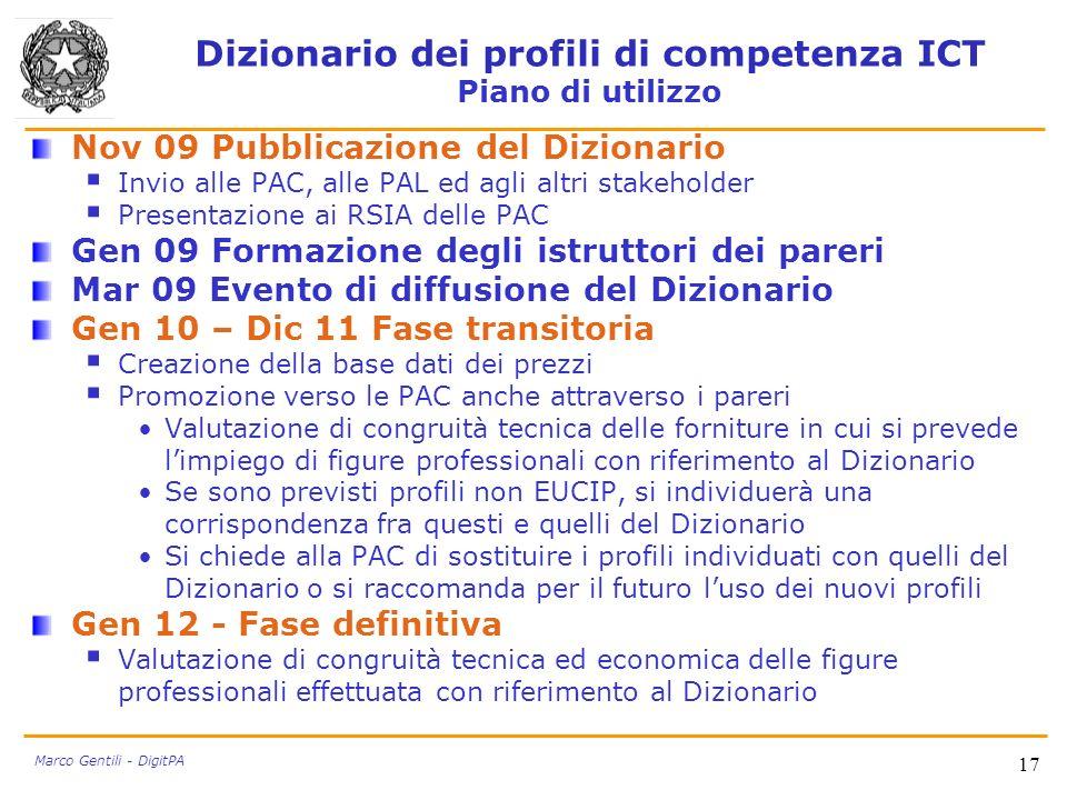 Dizionario dei profili di competenza ICT Piano di utilizzo Nov 09 Pubblicazione del Dizionario Invio alle PAC, alle PAL ed agli altri stakeholder Pres