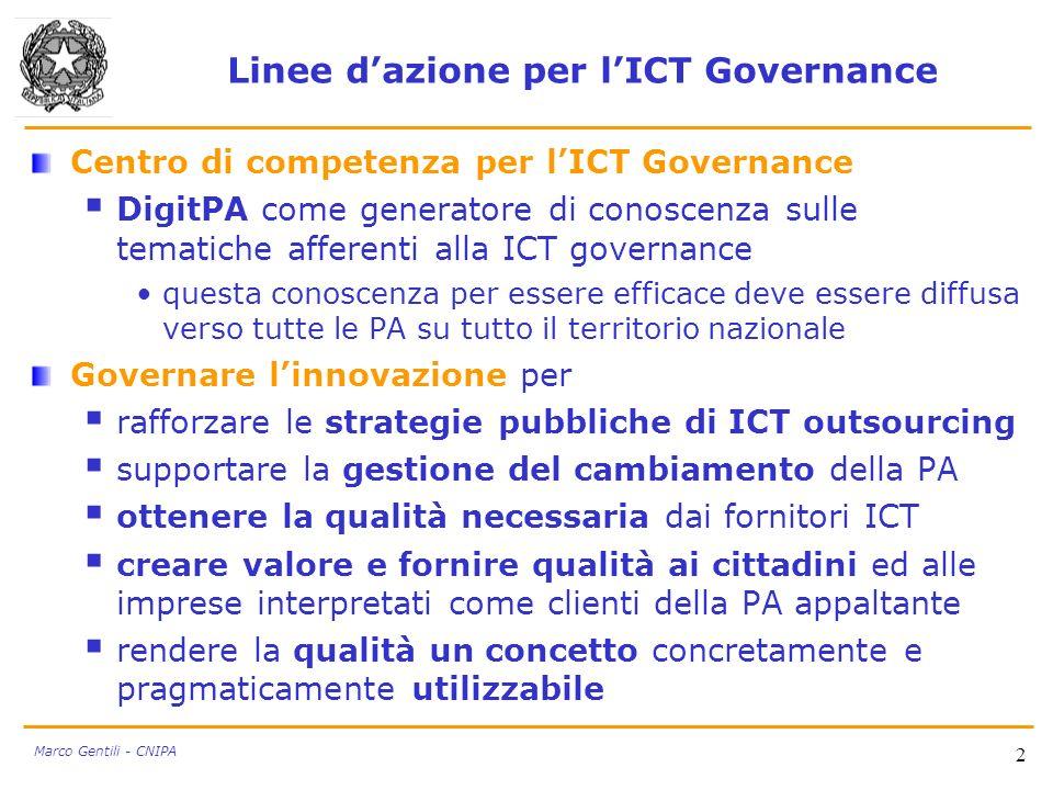Linee dazione per lICT Governance Centro di competenza per lICT Governance DigitPA come generatore di conoscenza sulle tematiche afferenti alla ICT go