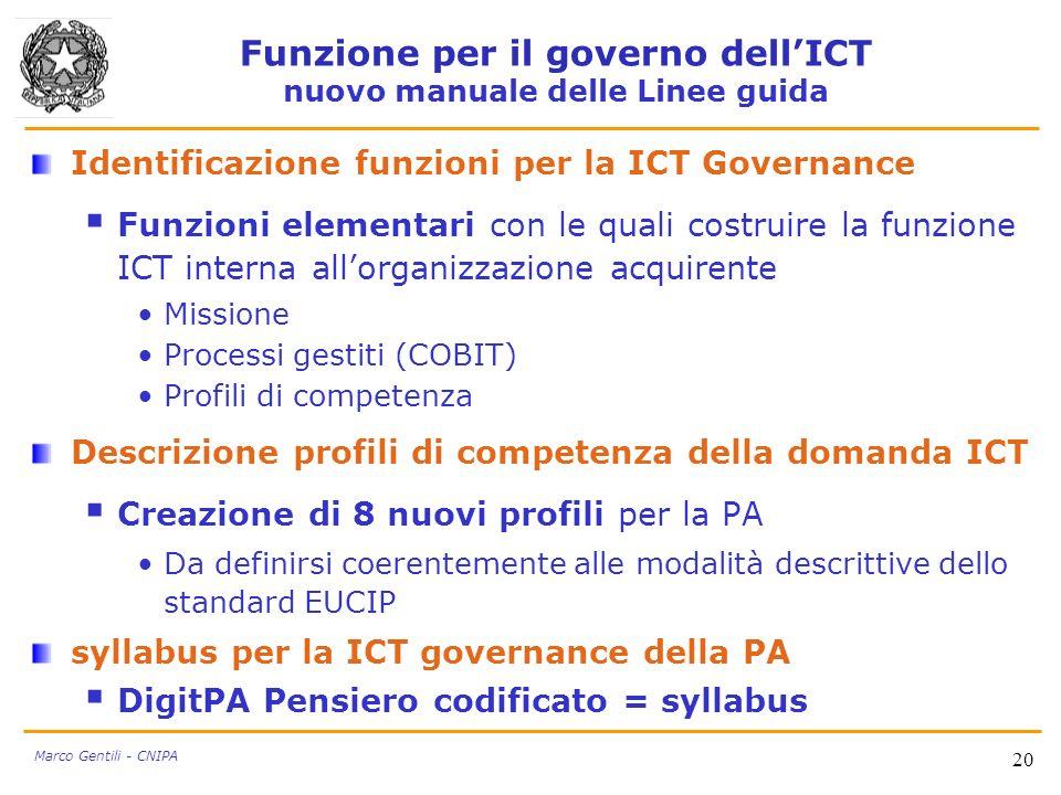 20 Marco Gentili - CNIPA Identificazione funzioni per la ICT Governance Funzioni elementari con le quali costruire la funzione ICT interna allorganizz