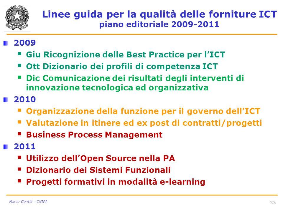 22 Marco Gentili - CNIPA Linee guida per la qualità delle forniture ICT piano editoriale 2009-2011 2009 Giu Ricognizione delle Best Practice per lICT