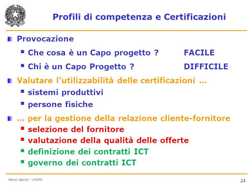 24 Marco Gentili - CNIPA Profili di competenza e Certificazioni Provocazione Che cosa è un Capo progetto ?FACILE Chi è un Capo Progetto ?DIFFICILE Val