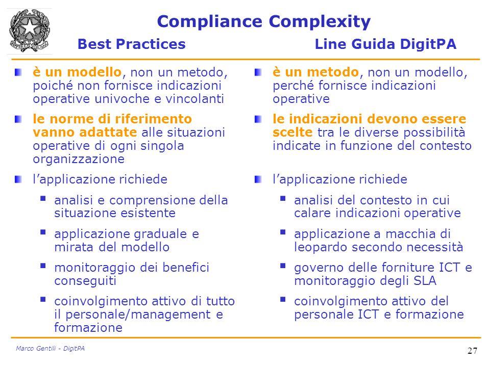 27 Marco Gentili - DigitPA Compliance Complexity Best Practices Line Guida DigitPA è un modello, non un metodo, poiché non fornisce indicazioni operat
