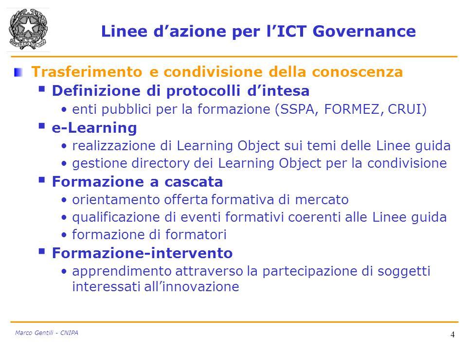 Linee dazione per lICT Governance Trasferimento e condivisione della conoscenza Definizione di protocolli dintesa enti pubblici per la formazione (SSP