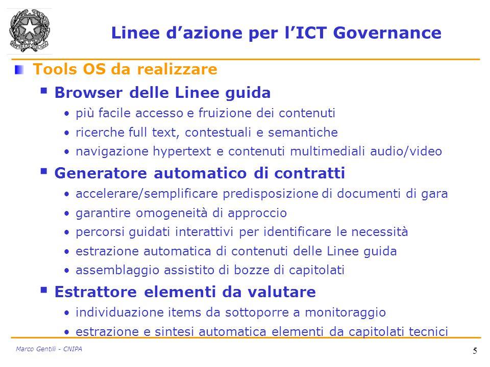 5 Linee dazione per lICT Governance Tools OS da realizzare Browser delle Linee guida più facile accesso e fruizione dei contenuti ricerche full text,