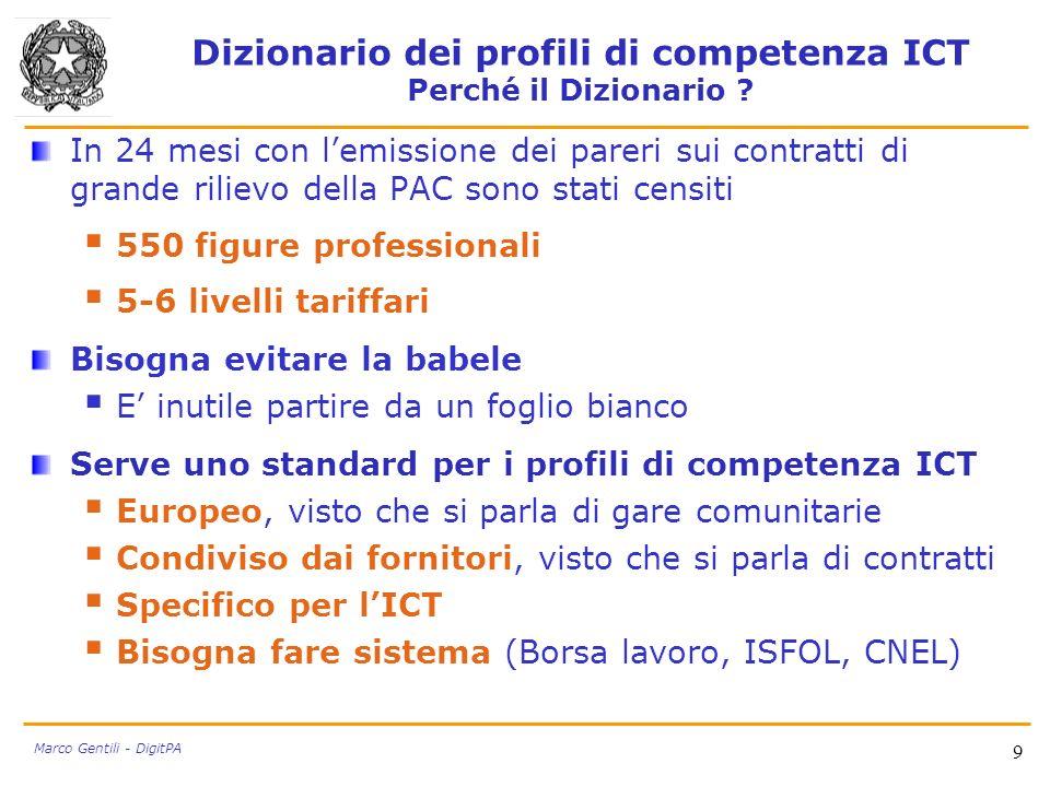Dizionario dei profili di competenza ICT Perché il Dizionario ? In 24 mesi con lemissione dei pareri sui contratti di grande rilievo della PAC sono st