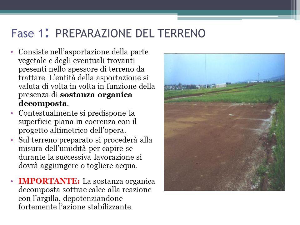 Fase 1 : PREPARAZIONE DEL TERRENO Consiste nellasportazione della parte vegetale e degli eventuali trovanti presenti nello spessore di terreno da trattare.