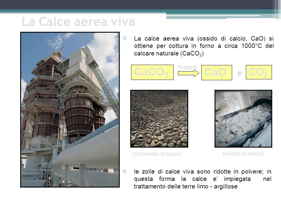 La Calce aerea viva CaCO 3 CaO (carbonato di calcio) (ossido di calcio) +calore La calce aerea viva (ossido di calcio, CaO) si ottiene per cottura in forno a circa 1000°C del calcare naturale (CaCO 3 ) le zolle di calce viva sono ridotte in polvere; in questa forma la calce e impiegata nel trattamento delle terre limo - argillose CO 2 +