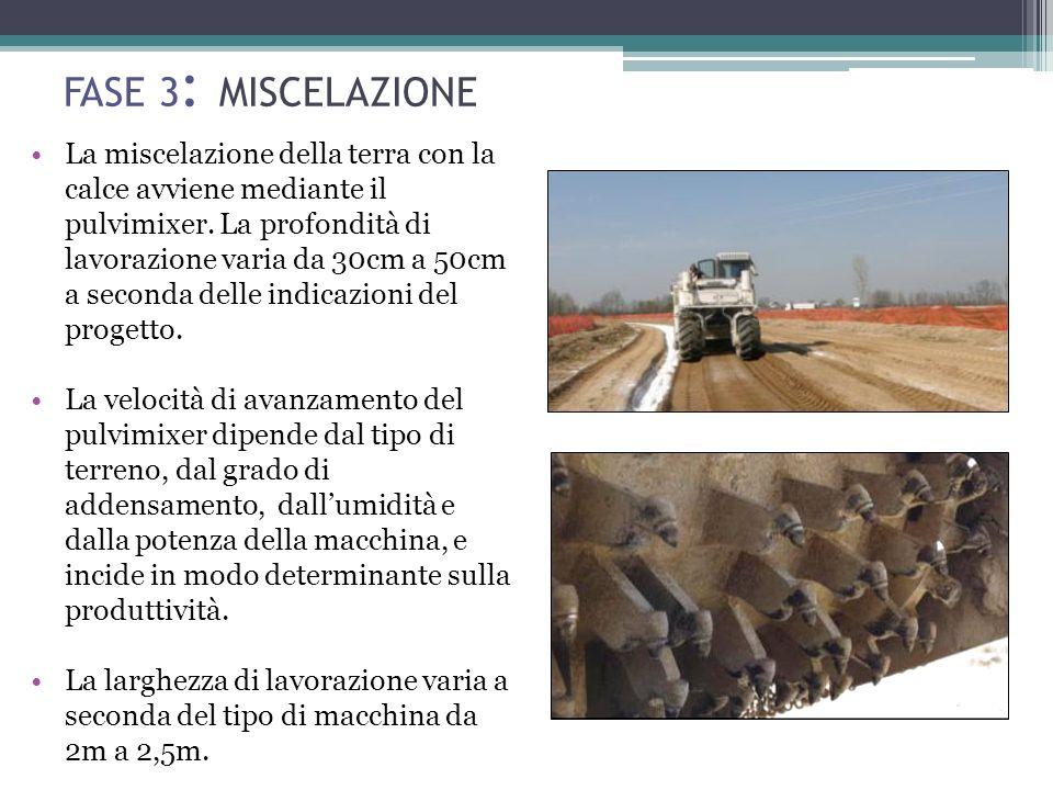FASE 3 : MISCELAZIONE La miscelazione della terra con la calce avviene mediante il pulvimixer.