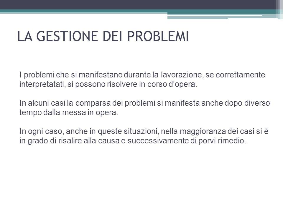 I problemi che si manifestano durante la lavorazione, se correttamente interpretatati, si possono risolvere in corso dopera.