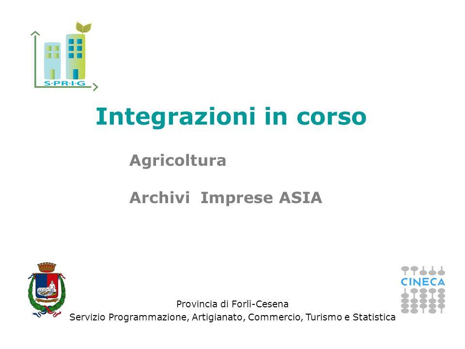 Provincia di Forlì-Cesena Servizio Programmazione, Artigianato, Commercio, Turismo e Statistica Integrazioni in corso Agricoltura Archivi Imprese ASIA