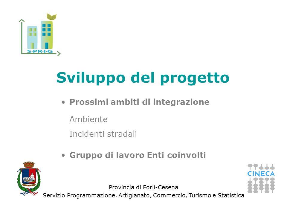 Provincia di Forlì-Cesena Servizio Programmazione, Artigianato, Commercio, Turismo e Statistica Sviluppo del progetto Prossimi ambiti di integrazione Ambiente Incidenti stradali Gruppo di lavoro Enti coinvolti