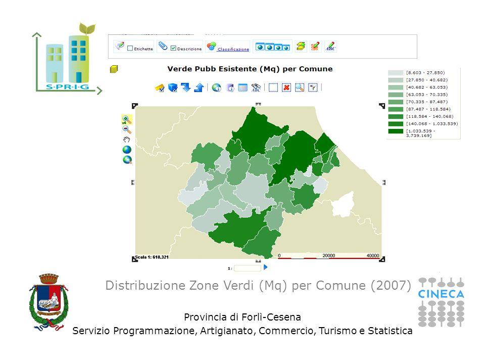 Provincia di Forlì-Cesena Servizio Programmazione, Artigianato, Commercio, Turismo e Statistica Distribuzione Zone Verdi (Mq) per Comune (2007)