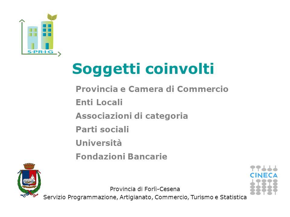 Provincia di Forlì-Cesena Servizio Programmazione, Artigianato, Commercio, Turismo e Statistica Provincia e Camera di Commercio Enti Locali Associazioni di categoria Parti sociali Università Fondazioni Bancarie Soggetti coinvolti