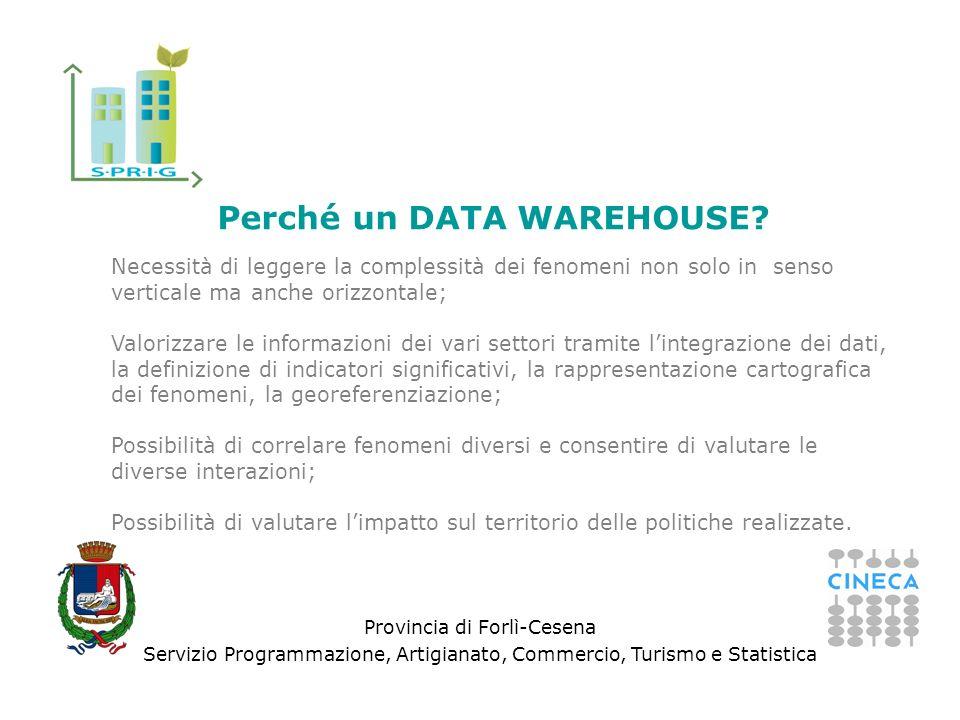 Provincia di Forlì-Cesena Servizio Programmazione, Artigianato, Commercio, Turismo e Statistica Perché un DATA WAREHOUSE? Necessità di leggere la comp