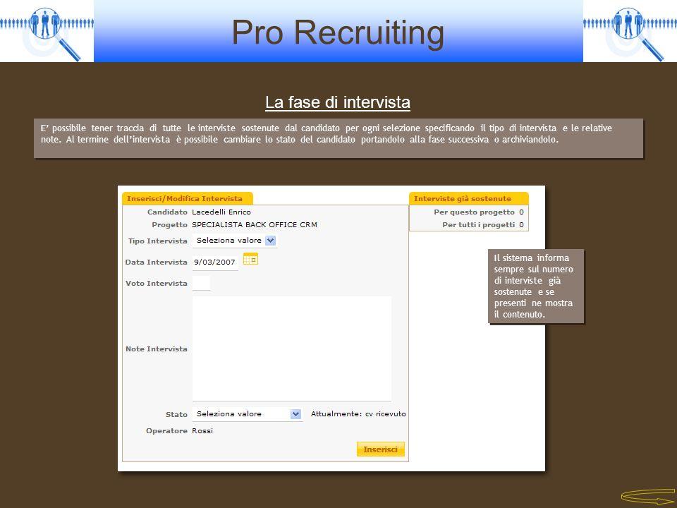 Pro Recruiting E possibile tener traccia di tutte le interviste sostenute dal candidato per ogni selezione specificando il tipo di intervista e le rel