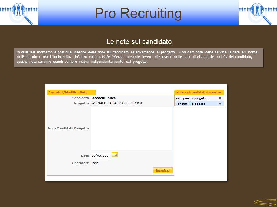 Pro Recruiting In qualsiasi momento è possibile inserire delle note sul candidato relativamente al progetto. Con ogni nota viene salvata la data e il