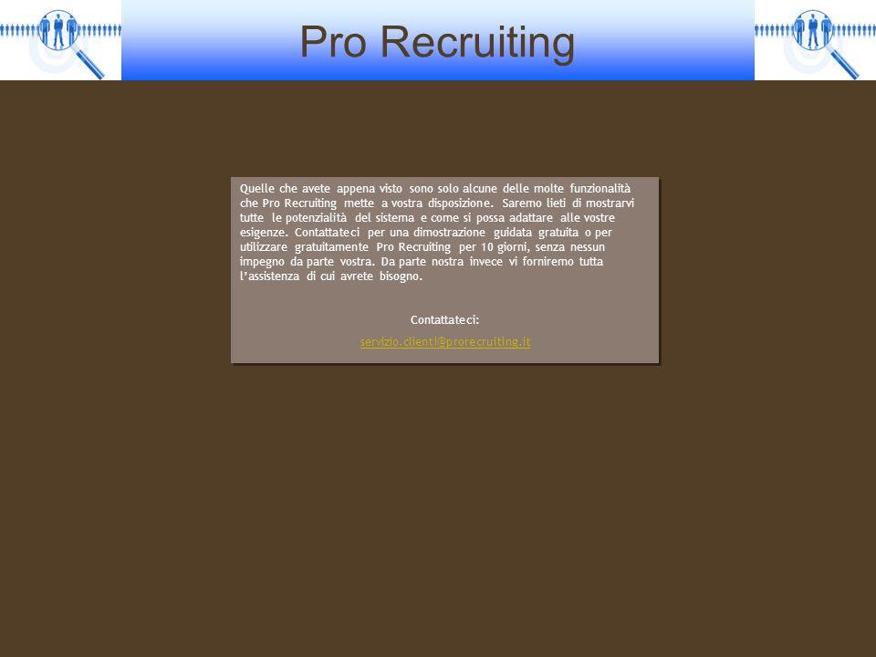 Pro Recruiting Quelle che avete appena visto sono solo alcune delle molte funzionalità che Pro Recruiting mette a vostra disposizione. Saremo lieti di