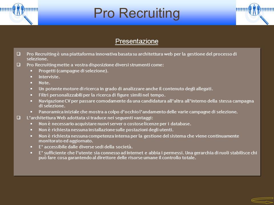Pro Recruiting Pro Recruiting è una piattaforma innovativa basata su architettura web per la gestione del processo di selezione. Pro Recruiting mette