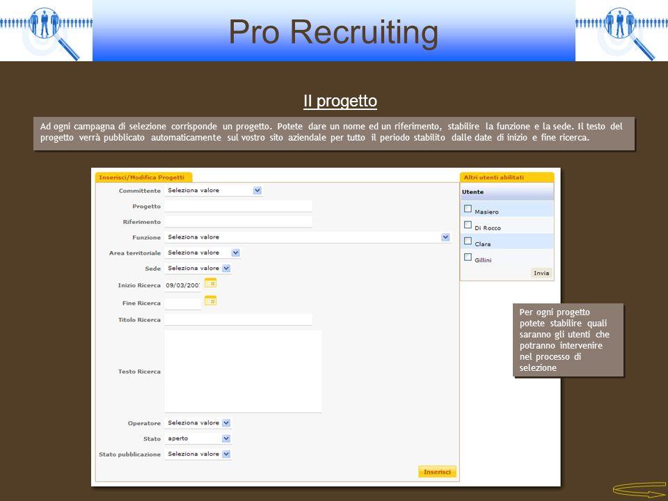 Pro Recruiting Il progetto Ad ogni campagna di selezione corrisponde un progetto. Potete dare un nome ed un riferimento, stabilire la funzione e la se
