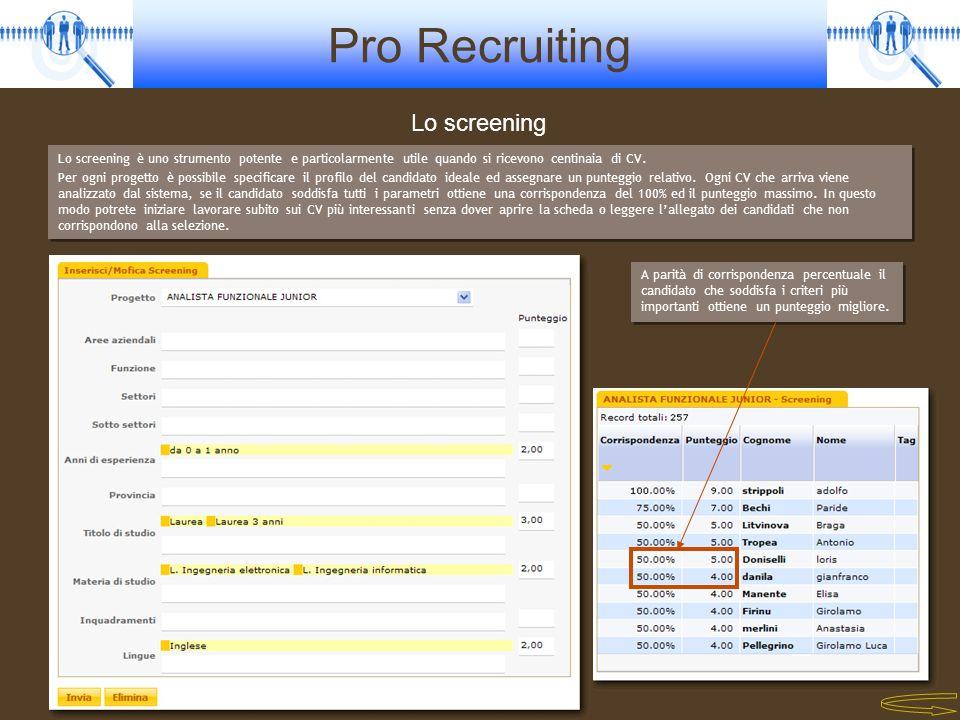 Pro Recruiting Lo screening Lo screening è uno strumento potente e particolarmente utile quando si ricevono centinaia di CV. Per ogni progetto è possi