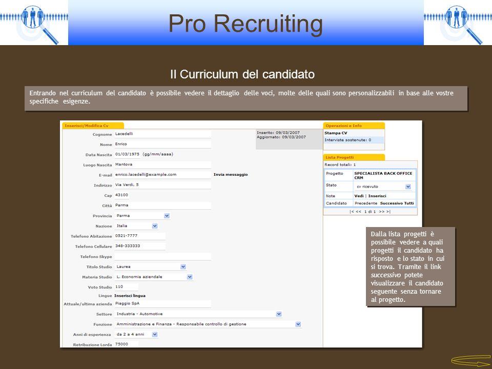 Pro Recruiting Il Curriculum del candidato Entrando nel curriculum del candidato è possibile vedere il dettaglio delle voci, molte delle quali sono pe