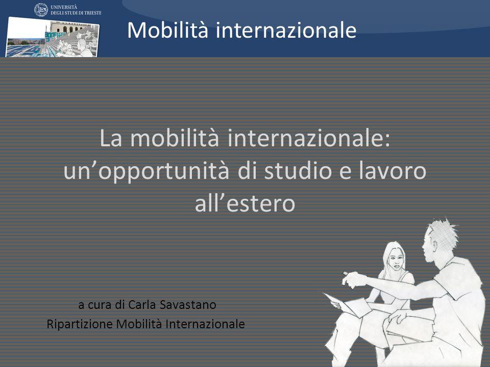 La mobilità internazionale: unopportunità di studio e lavoro allestero a cura di Carla Savastano Ripartizione Mobilità Internazionale Mobilità interna