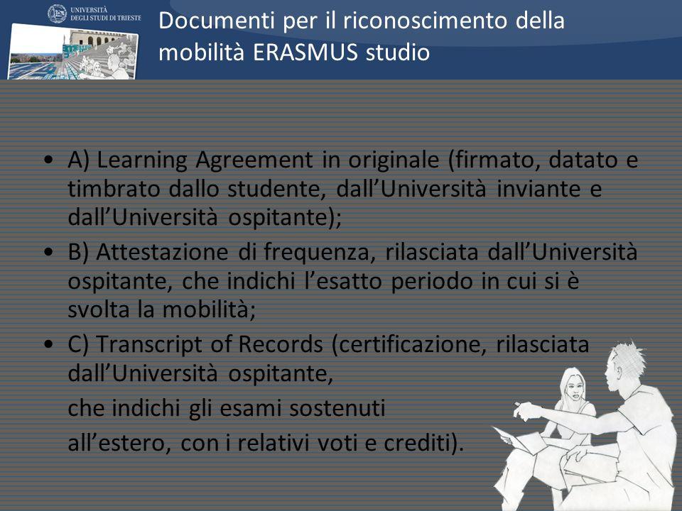 A) Learning Agreement in originale (firmato, datato e timbrato dallo studente, dallUniversità inviante e dallUniversità ospitante); B) Attestazione di