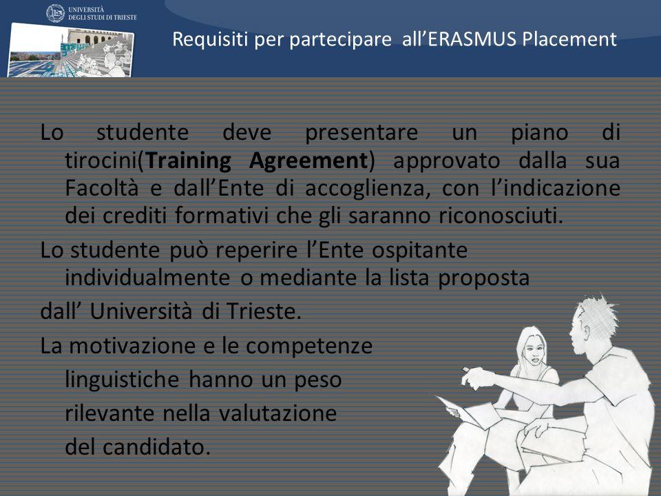 Lo studente deve presentare un piano di tirocini(Training Agreement) approvato dalla sua Facoltà e dallEnte di accoglienza, con lindicazione dei credi