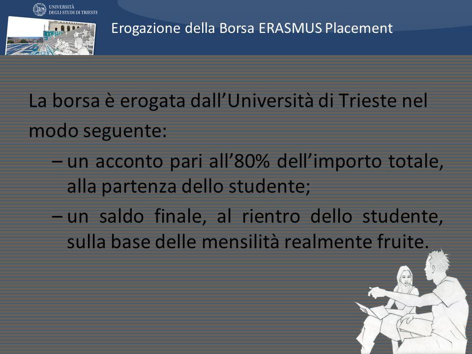 La borsa è erogata dallUniversità di Trieste nel modo seguente: –un acconto pari all80% dellimporto totale, alla partenza dello studente; –un saldo finale, al rientro dello studente, sulla base delle mensilità realmente fruite.