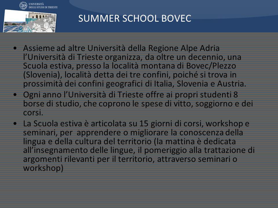 Assieme ad altre Università della Regione Alpe Adria lUniversità di Trieste organizza, da oltre un decennio, una Scuola estiva, presso la località montana di Bovec/Plezzo (Slovenia), località detta dei tre confini, poiché si trova in prossimità dei confini geografici di Italia, Slovenia e Austria.
