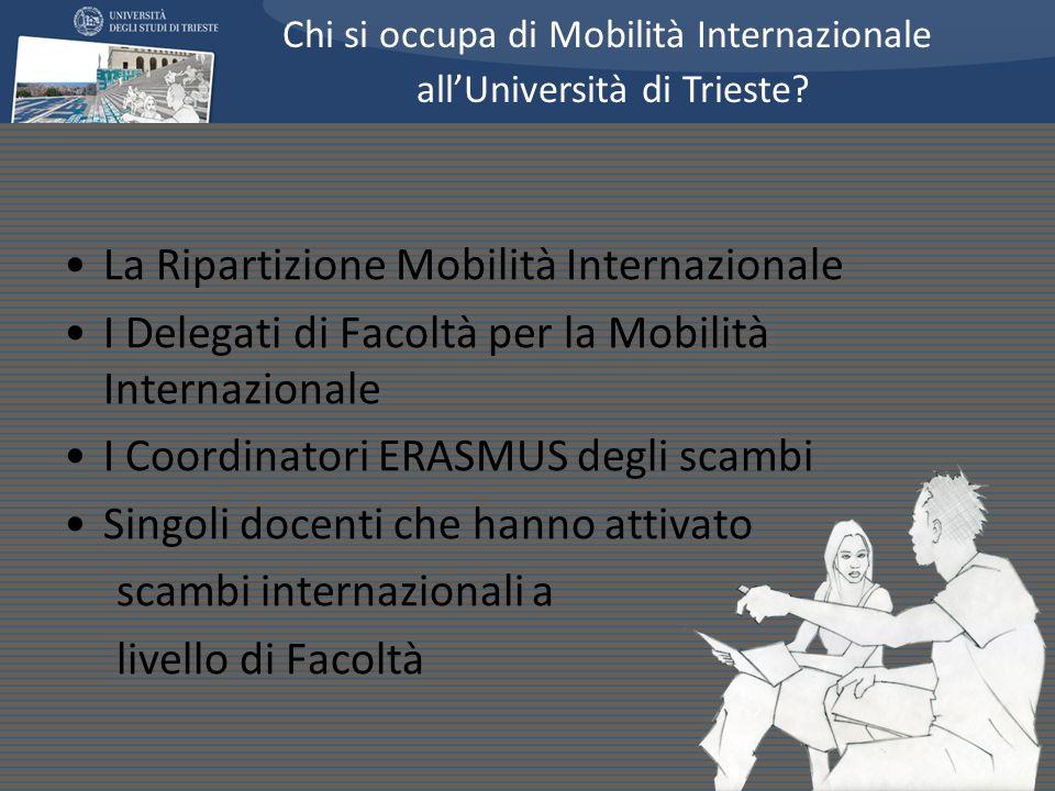 La Ripartizione Mobilità Internazionale I Delegati di Facoltà per la Mobilità Internazionale I Coordinatori ERASMUS degli scambi Singoli docenti che h