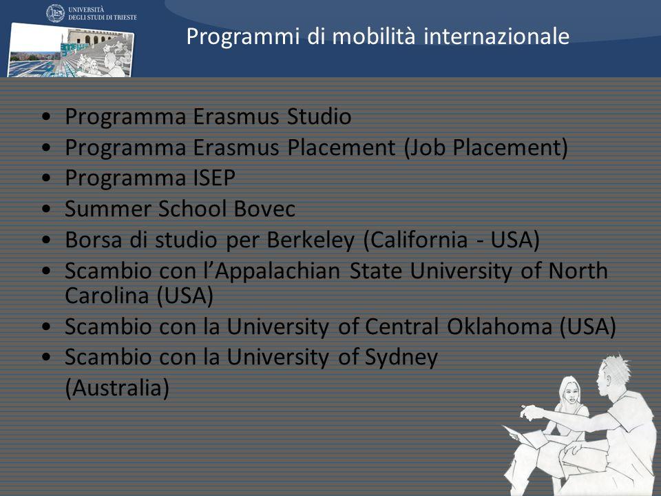 Programma Erasmus Studio Programma Erasmus Placement (Job Placement) Programma ISEP Summer School Bovec Borsa di studio per Berkeley (California - USA) Scambio con lAppalachian State University of North Carolina (USA) Scambio con la University of Central Oklahoma (USA) Scambio con la University of Sydney (Australia) Programmi di mobilità internazionale