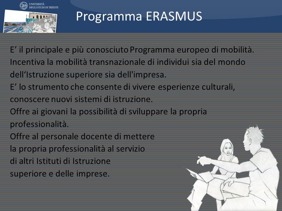 E il principale e più conosciuto Programma europeo di mobilità. Incentiva la mobilità transnazionale di individui sia del mondo dellIstruzione superio