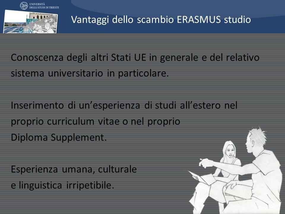 Conoscenza degli altri Stati UE in generale e del relativo sistema universitario in particolare. Inserimento di unesperienza di studi allestero nel pr
