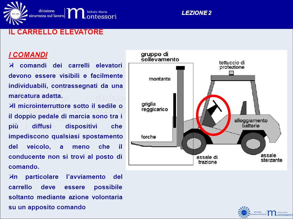 IL CARRELLO ELEVATORE I COMANDI I comandi dei carrelli elevatori devono essere visibili e facilmente individuabili, contrassegnati da una marcatura ad