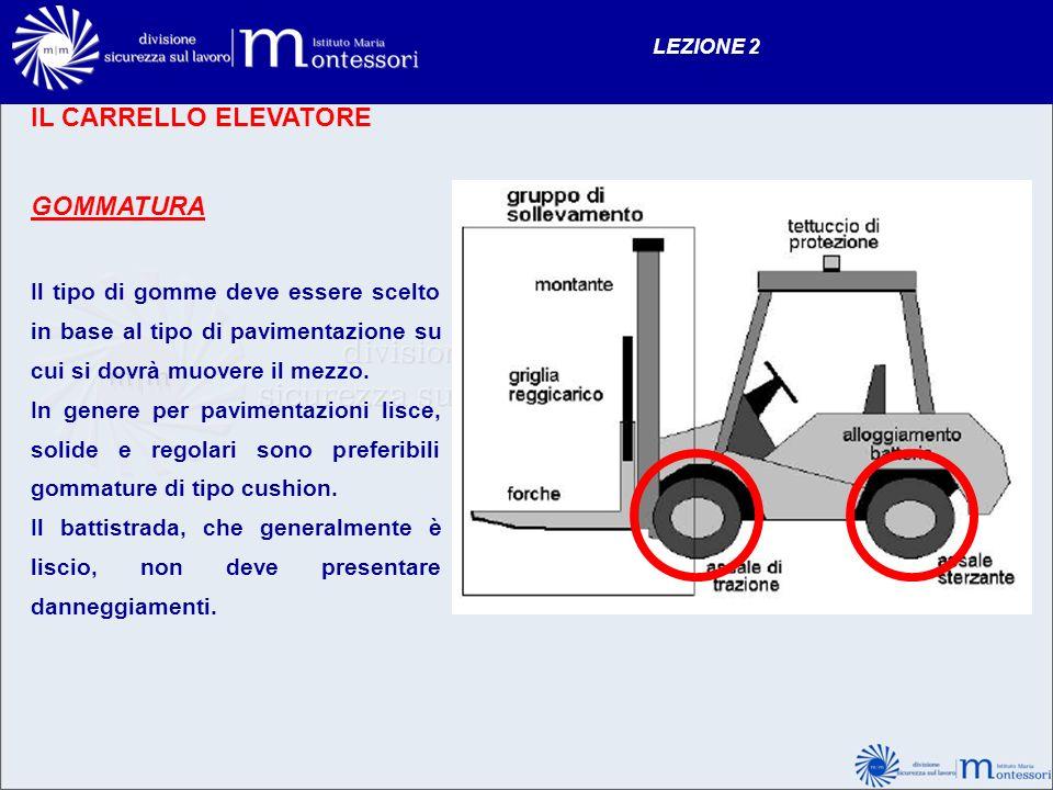 IL CARRELLO ELEVATORE GOMMATURA Il tipo di gomme deve essere scelto in base al tipo di pavimentazione su cui si dovrà muovere il mezzo. In genere per