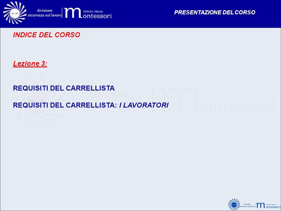 INDICE DEL CORSO Lezione 3: REQUISITI DEL CARRELLISTA REQUISITI DEL CARRELLISTA: I LAVORATORI PRESENTAZIONE DEL CORSO