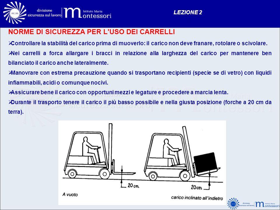 NORME DI SICUREZZA PER L'USO DEI CARRELLI LEZIONE 2 Controllare la stabilità del carico prima di muoverlo: il carico non deve franare, rotolare o sciv