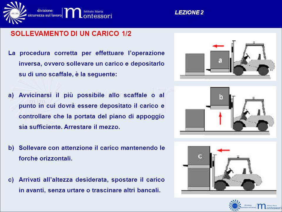 SOLLEVAMENTO DI UN CARICO 1/2 LEZIONE 2 La procedura corretta per effettuare loperazione inversa, ovvero sollevare un carico e depositarlo su di uno s