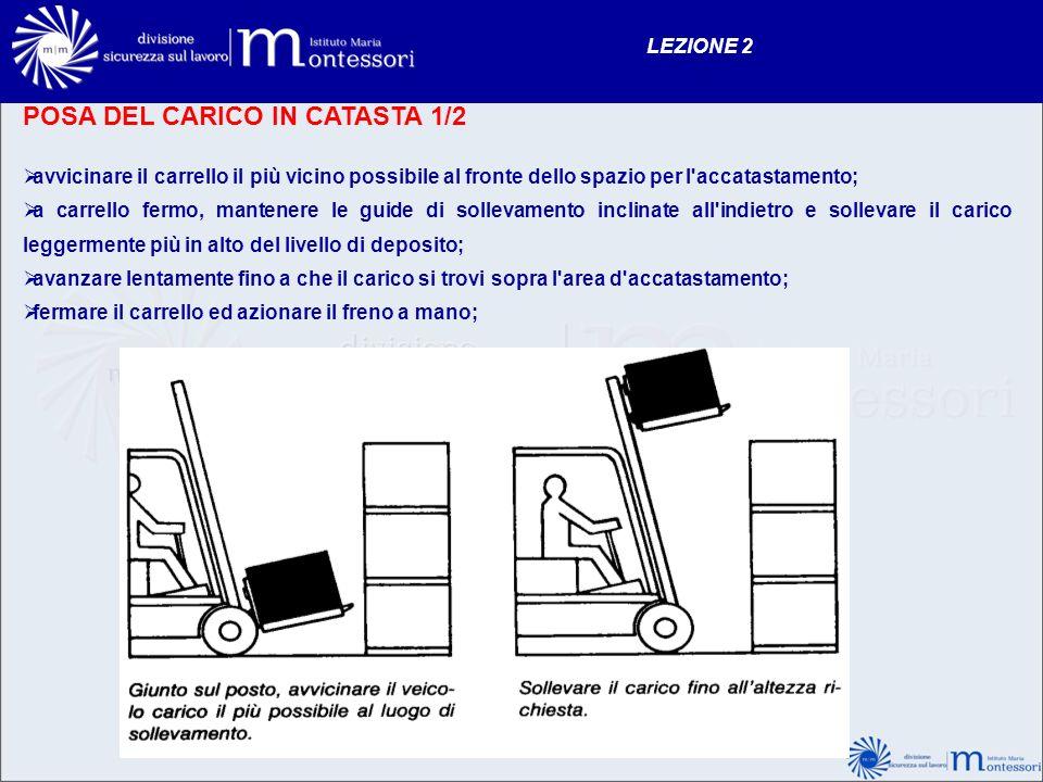 POSA DEL CARICO IN CATASTA 1/2 avvicinare il carrello il più vicino possibile al fronte dello spazio per l'accatastamento; a carrello fermo, mantenere