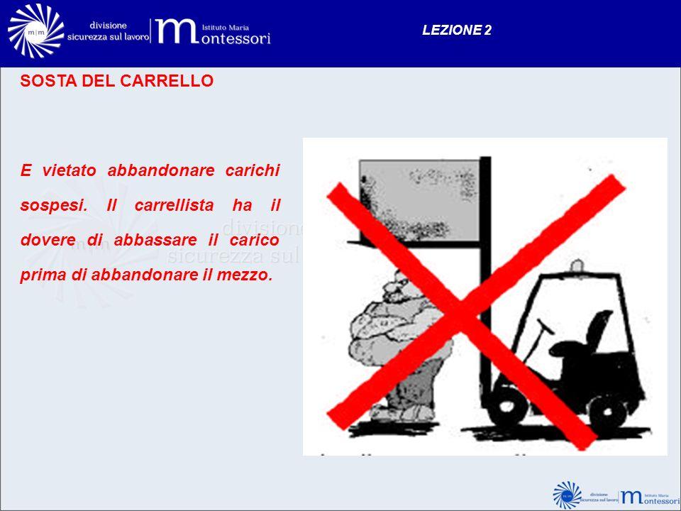 LEZIONE 2 SOSTA DEL CARRELLO E vietato abbandonare carichi sospesi. Il carrellista ha il dovere di abbassare il carico prima di abbandonare il mezzo.