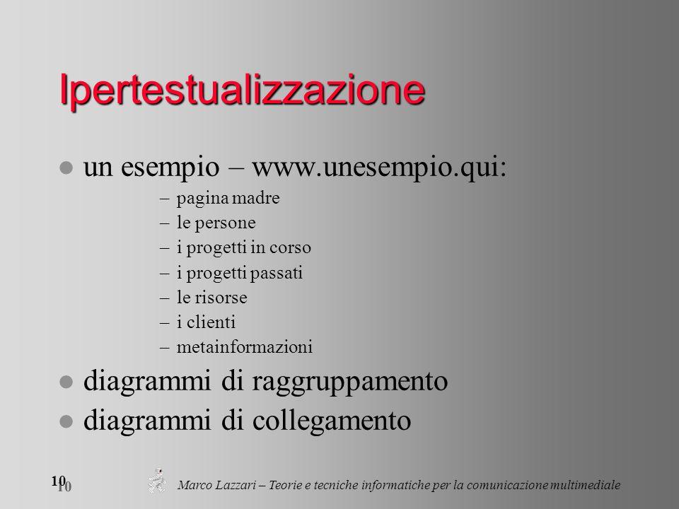 Marco Lazzari – Teorie e tecniche informatiche per la comunicazione multimediale 10 Ipertestualizzazione l un esempio – www.unesempio.qui: –pagina mad