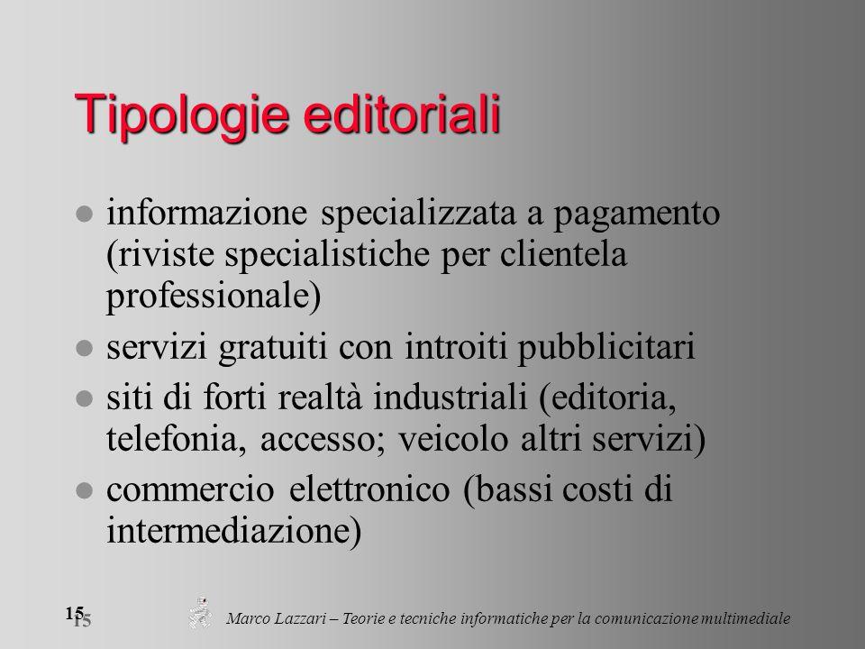 Marco Lazzari – Teorie e tecniche informatiche per la comunicazione multimediale 15 Tipologie editoriali l informazione specializzata a pagamento (riv
