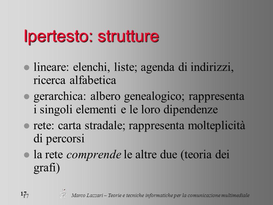 Marco Lazzari – Teorie e tecniche informatiche per la comunicazione multimediale 17 Ipertesto: strutture l lineare: elenchi, liste; agenda di indirizz