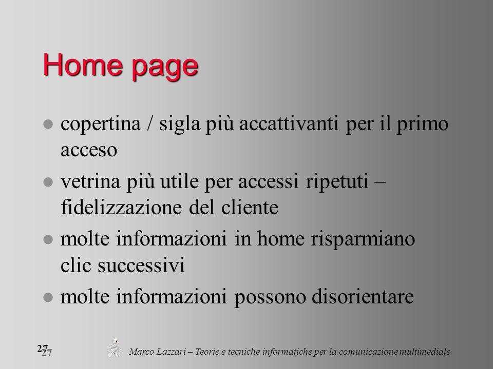 Marco Lazzari – Teorie e tecniche informatiche per la comunicazione multimediale 27 Home page l copertina / sigla più accattivanti per il primo acceso
