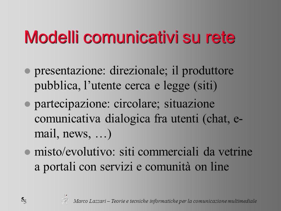 Marco Lazzari – Teorie e tecniche informatiche per la comunicazione multimediale 5 5 Modelli comunicativi su rete l presentazione: direzionale; il pro
