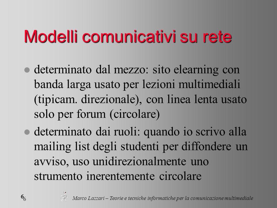Marco Lazzari – Teorie e tecniche informatiche per la comunicazione multimediale 6 6 Modelli comunicativi su rete l determinato dal mezzo: sito elearning con banda larga usato per lezioni multimediali (tipicam.