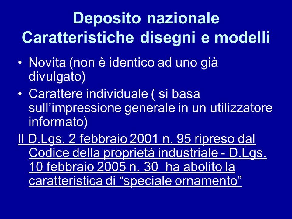 Deposito nazionale Caratteristiche disegni e modelli Novita (non è identico ad uno già divulgato) Carattere individuale ( si basa sullimpressione generale in un utilizzatore informato) Il D.Lgs.